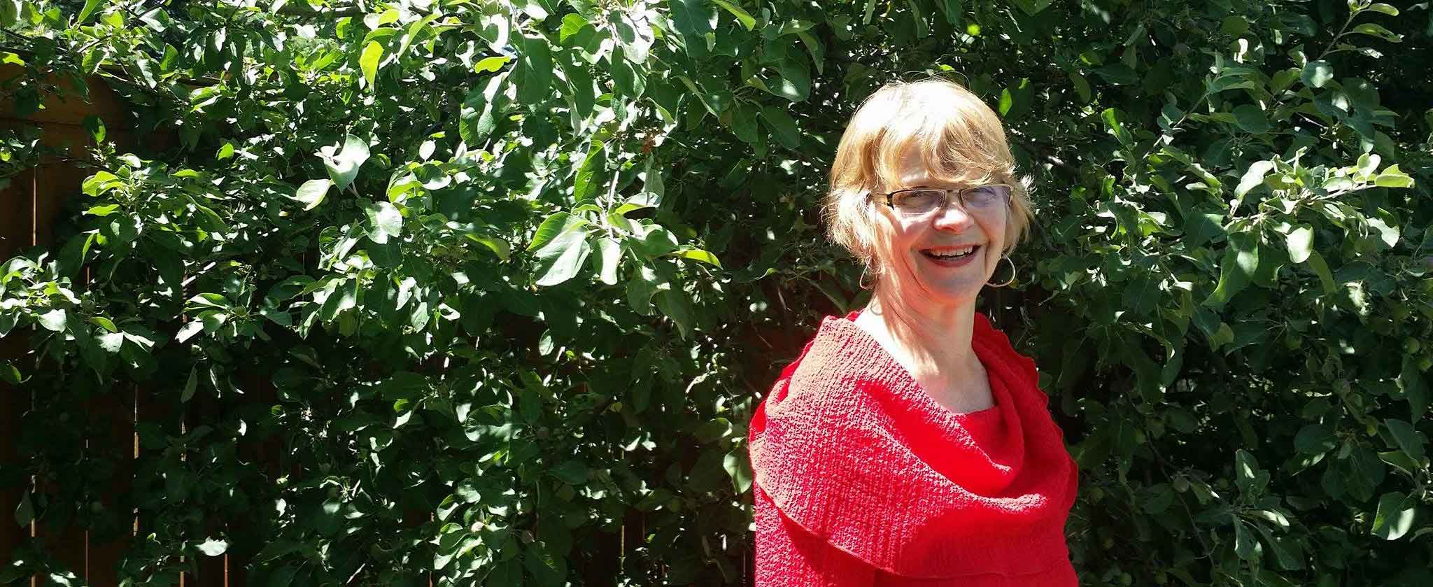 Diane by the apple tree